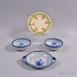 Three Dorchester Pottery Bowls and a Rabbit-decorated Ceramic Plate