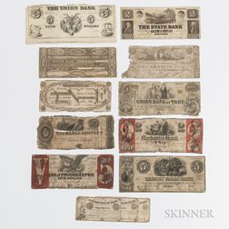 Thirteen Obsolete Bank Notes