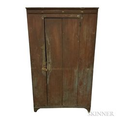 Country Red-painted Pine One-door Cupboard