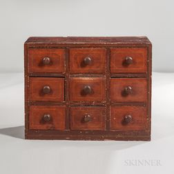 Red-painted Nine-drawer Spice Chest