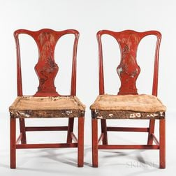 Pair of George II Red and Gilt-japanned Side Chairs