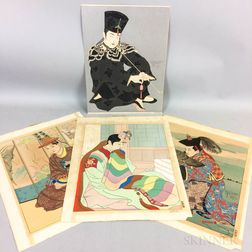 Four Paul Jacoulet (1896-1960) Woodblock Prints