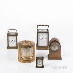 Six Brass Shelf Clocks