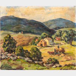 Alva Glidden (American, 1895-2000)      Haying in the Valley.