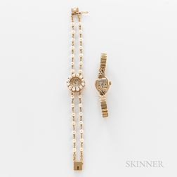 Two 14kt Gold Cocktail Wristwatches