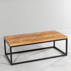Wood-top Metal-base Coffee Table