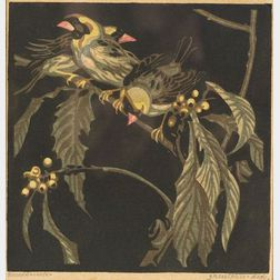 Norbertine Bresslern-Roth (Austrian, 1891-1978)  Finches and Berries.