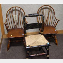 Pair of Eldred Wheeler Child's Windsor Pine and Ash Continuous Armchairs, and   a Child's Hitchcock-type Painted Side Chair