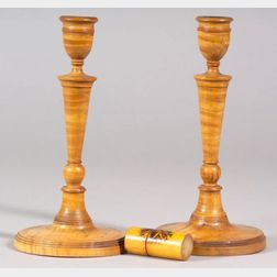 Pair of Turned Tiger Maple Candlesticks and a Decorated Maple Container