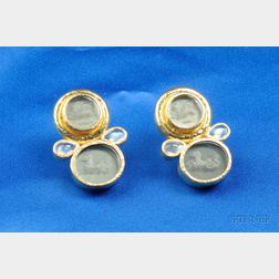 18kt Gold, Glass Intaglio, and Opal Earrings, Elizabeth Locke