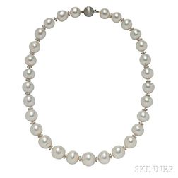 18kt Gold, Baroque Pearl, and Diamond Necklace