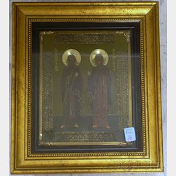 Shadow Box Framed Russian 19th Century Style Gilt-metal Mounted Tempera on Panel   Icon