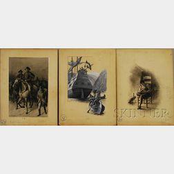 Augustus B. Shute (American, d. 1910)      Lot of Three Illustrations: George Washington Night Scene/Marching to Trenton