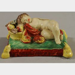 English Staffordshire Figure of a Sleeping Child