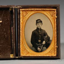 Quarter-plate Tintype Portrait of a Young Soldier