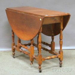William & Mary-style Tiger Maple Drop-leaf Gate-leg Table