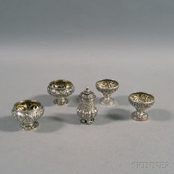 Four Repousse Sterling Silver Master Salts and an Unmarked Pepper Shaker