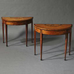 Pair of George III Satinwood Veneer Gate-leg Games Tables