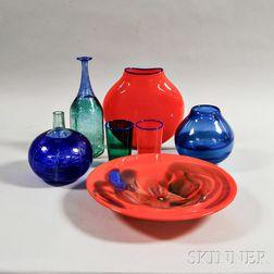 Seven Pieces of Modern Art Glass