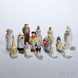 Fourteen Royal Worcester Porcelain Candle Extinguishers