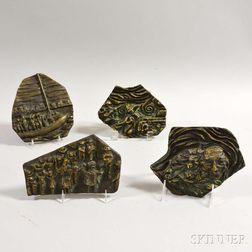 Kenneth Treister (American, b. 1930)      Four Bronze Plaques: Warsaw Ghetto ,  Exodus ,  Auschwitz