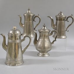 Four Pewter Coffeepots
