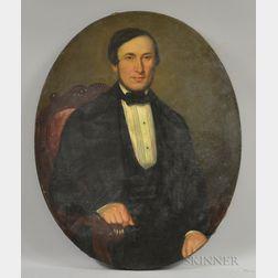 American School, 19th/20th Century      Half-length Portrait of a Seated Man in Formal Attire.