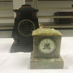 Egyptian Revival Black Slate Shelf Clock and a Variegated Green Marble Clock
