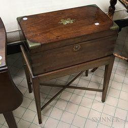 Regency Brass-bound Mahogany Lap Desk on Stand