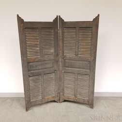 Large Gray-painted Pine Louvered Shutter/Screen