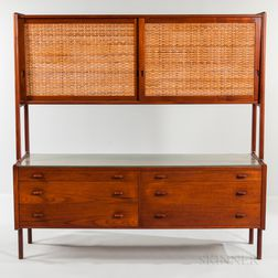 Hans Wegner for Ry Mobler Teak, Rattan, and Beech Sideboard Hutch