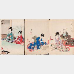Toyohara Chikanobu (1838-1912), Three Woodblock Prints