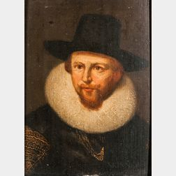 Dutch School, 17th Century Style      Head of a Man in a Ruff and Black Brimmed Hat