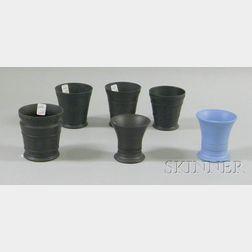 Six Wedgwood Basalt Edme Footed Cups