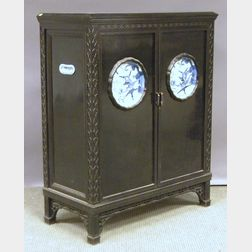 Chinese Chippendale-style Black Lacquered Wood and Porcelain-inset Two-door Cabinet