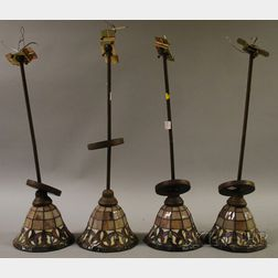 Set of Four Contemporary Leaded Art Glass Hanging Lamps
