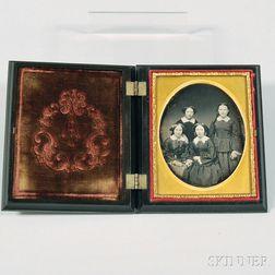 Quarter-plate Daguerreotype Portrait of Four Sisters
