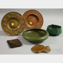 Two Matte Green Glazed Art Pottery Bowls and Four Art Metal Table Items