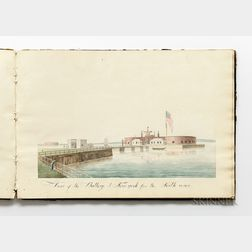 Sketchbook, American, Early 19th Century, with Watercolors on Paper of American East Coast Cities, Ports, and Ships.