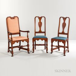 Turned and Carved Queen Anne Armchair and Pair of Matching Side Chairs