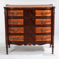 Carved Mahogany and Mahogany Veneer Inlaid Bow-front Chest of Drawers