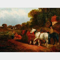 Attributed to John Frederick Herring (British, 1815-1907)    Horses and Riders on a Country Lane