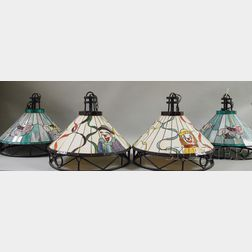 Two Pairs of Modern Leaded Slag Glass Circus-theme Hanging Lights