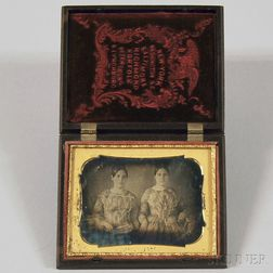 Quarter-plate Daguerreotype Portrait of Two Young Women