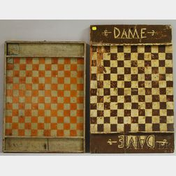 Two Polychrome Painted Canadian Checkered Wooden Game Boards