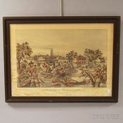 Framed Currier & Ives High Water In The Mississippi   Lithograph