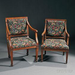 Two Louis XVI-style Beechwood Fauteuils