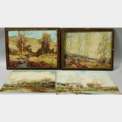 Attributed to Henry Kenyon (American, 1861-1926)       Four Landscapes