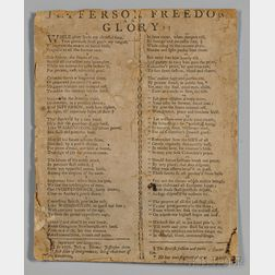 Jefferson, Thomas (1743-1826) Broadside Song, Jefferson, Freedom, and Glory!!