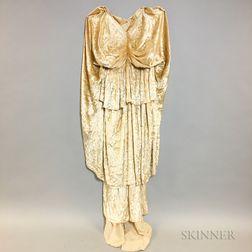 Fortuny-style Cream Velvet and Silk Pleated Skirt